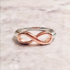 925 Silver 2 Tone Rose Gold Plated Infinity Ring